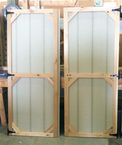 Set Of Wood Shed Doors Corner Block Design